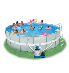 PISCINA INTEX ULTRA FRAME D. 549 x H 132 CM CON POMPA SAB. COMBO, SCALETTA, TELO BASE, COPERTURA, KIT PULIZIA, SET VOLLEY