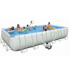 PISCINA INTEX ULTRA FRAME RETT. CM 732 x 366 x H 132 CON POMPA SAB. COMBO, SCALA, TELO BASE, COPERTURA, KIT PULIZIA, SET VOLLEY