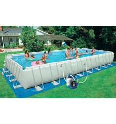 PISCINA INTEX ULTRA FRAME RETT. CM 975 x 488 x H 132 CON POMPA SAB. COMBO, SCALA, TELO BASE, COPERTURA, KIT PULIZIA, SET VOLLEY