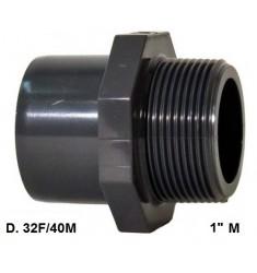 """ADATTATORE PVC D. 32 F x 40 M x 1"""" M"""