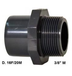"""ADATTATORE PVC D. 16 F x 20 M x 3/8"""" M"""